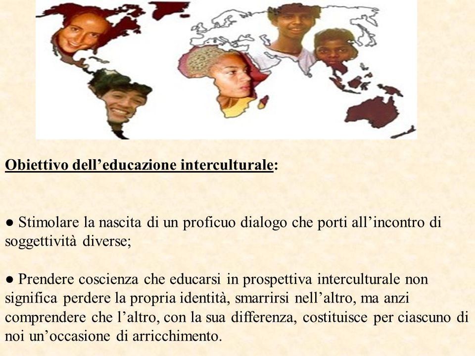 Obiettivo dell'educazione interculturale: ● Stimolare la nascita di un proficuo dialogo che porti all'incontro di soggettività diverse; ● Prendere cos