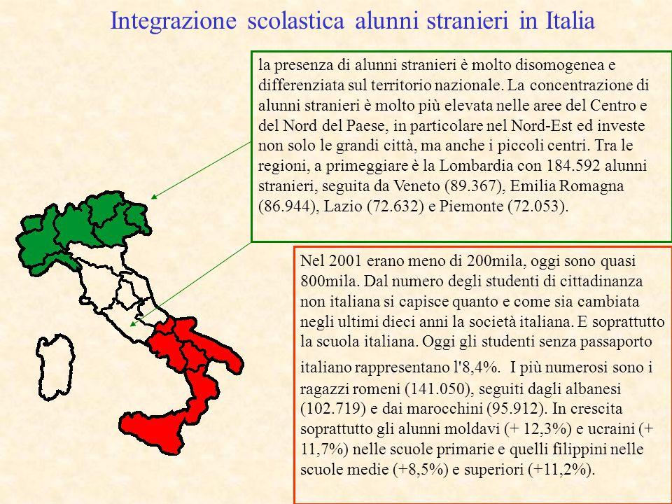 Integrazione scolastica alunni stranieri in Italia la presenza di alunni stranieri è molto disomogenea e differenziata sul territorio nazionale. La co