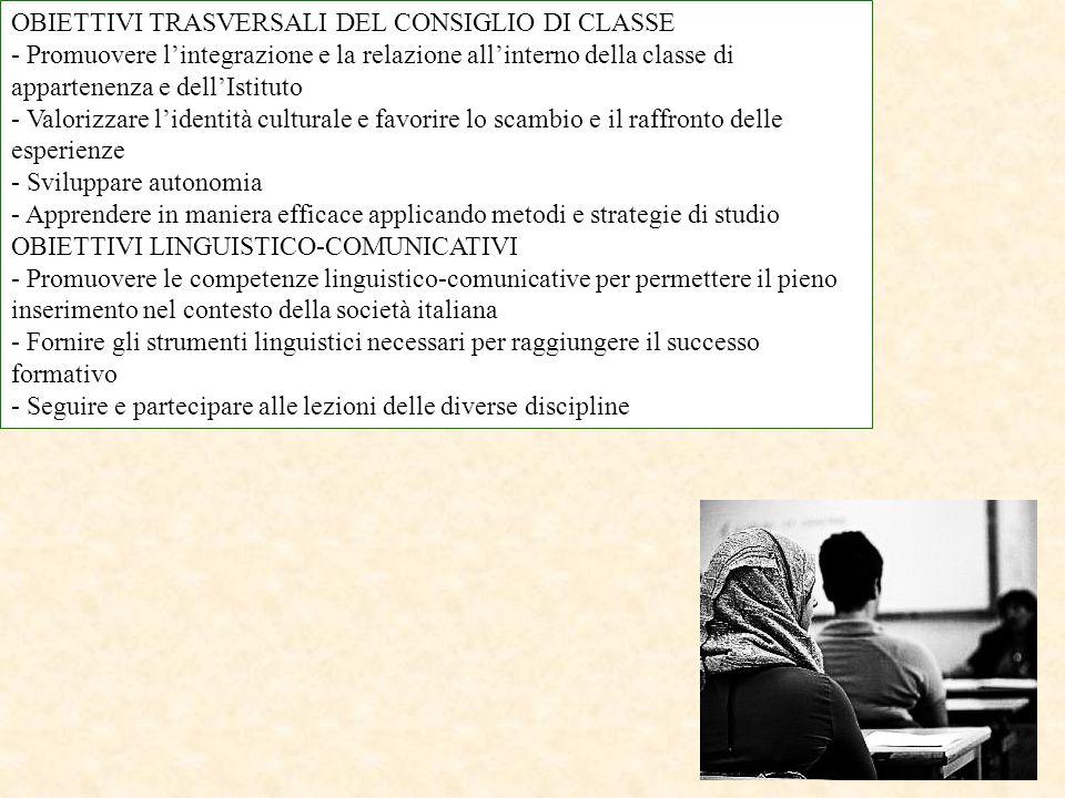 OBIETTIVI TRASVERSALI DEL CONSIGLIO DI CLASSE - Promuovere l'integrazione e la relazione all'interno della classe di appartenenza e dell'Istituto - Va