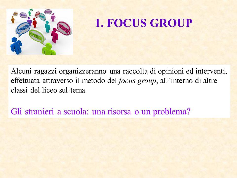 1. FOCUS GROUP Alcuni ragazzi organizzeranno una raccolta di opinioni ed interventi, effettuata attraverso il metodo del focus group, all'interno di a