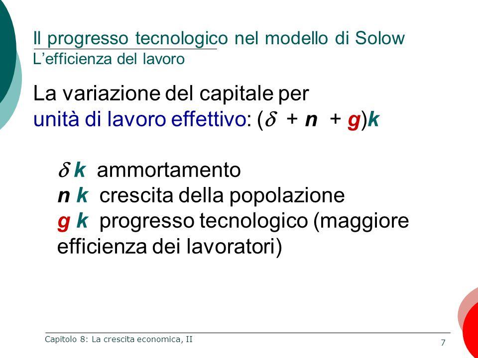 7 Capitolo 8: La crescita economica, II Il progresso tecnologico nel modello di Solow L'efficienza del lavoro La variazione del capitale per unità di lavoro effettivo: (  + n + g)k  k ammortamento n k crescita della popolazione g k progresso tecnologico (maggiore efficienza dei lavoratori)