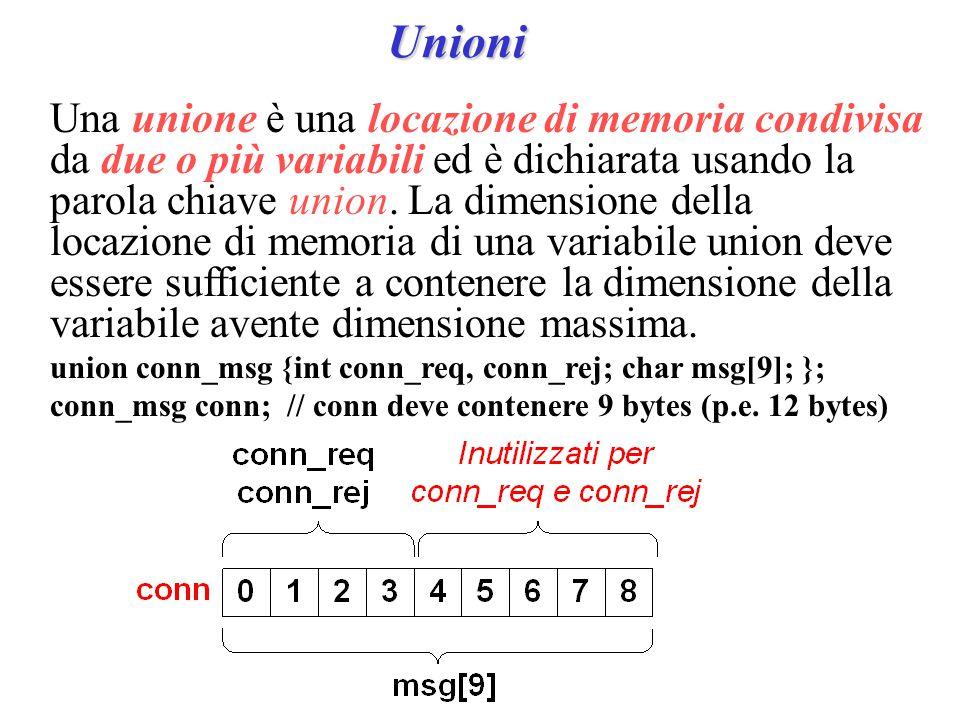 Unioni Una unione è una locazione di memoria condivisa da due o più variabili ed è dichiarata usando la parola chiave union.