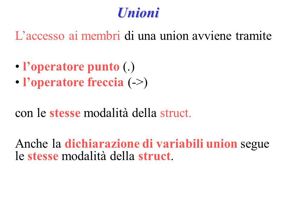 Unioni L'accesso ai membri di una union avviene tramite l'operatore punto (.) l'operatore freccia (->) con le stesse modalità della struct.
