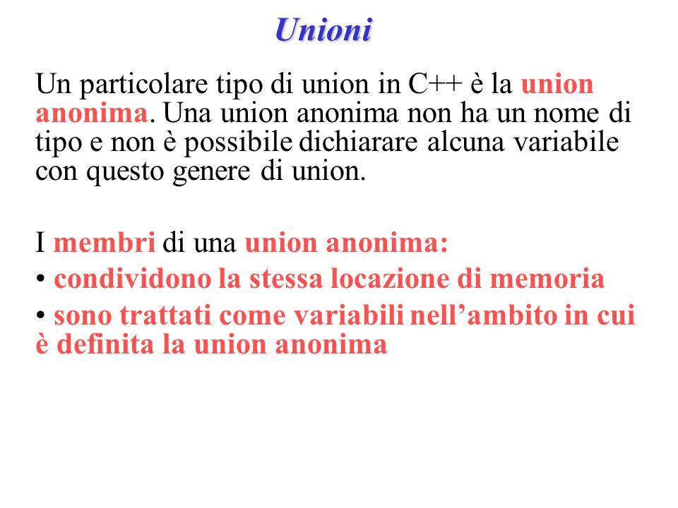 Unioni Un particolare tipo di union in C++ è la union anonima.