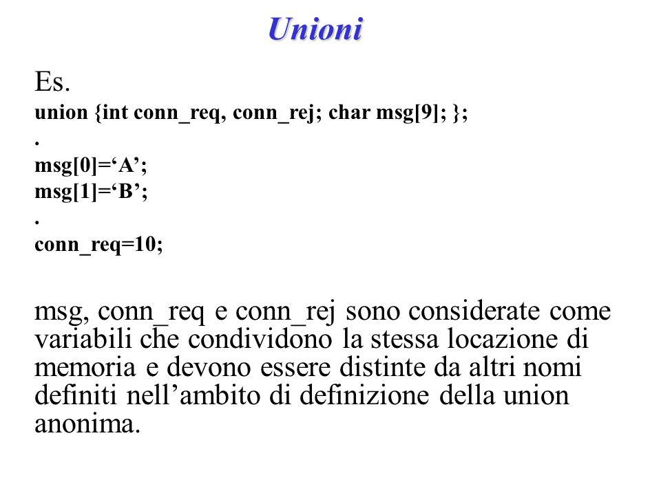 Unioni Es. union {int conn_req, conn_rej; char msg[9]; };.