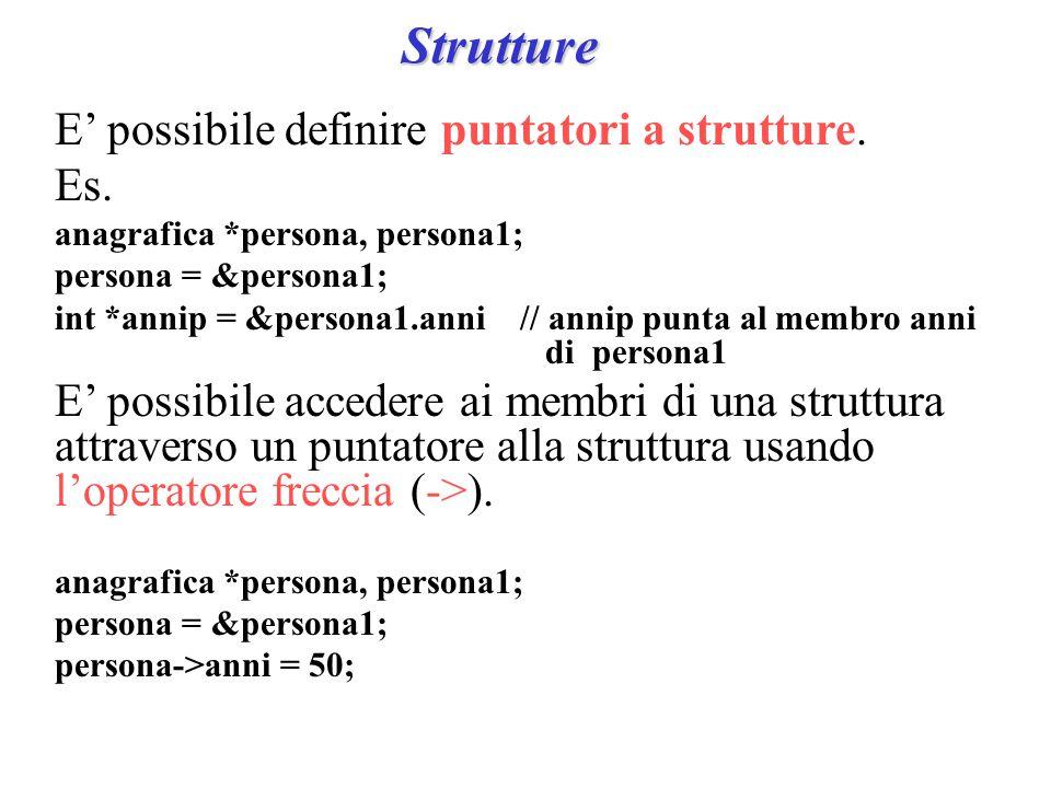 Strutture E' possibile definire puntatori a strutture.