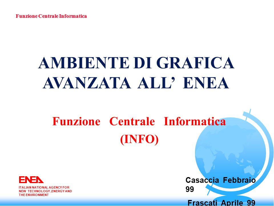Configurazione Hw in ambiente AFS Funzione Centrale Informatica ITALIAN NATIONAL AGENCY FOR NEW TECHNOLOGY,ENERGY AND THE ENVIRONMENT IBM SP2 IMMERSA DESK Utenti CATIA Utenti FUS Ingegneria Utenti FUS Fisica Octane 2Proc Bologna Octane 2Proc Casaccia Onyx2 4Proc Frascati Cray gruppo di sviluppo INFO
