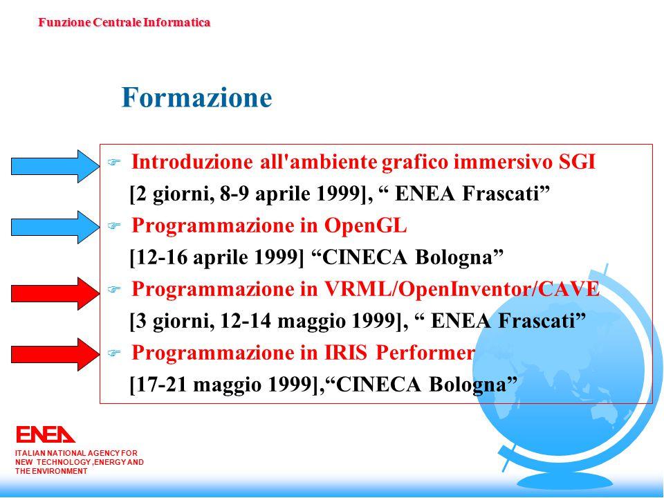 Formazione F Introduzione all ambiente grafico immersivo SGI [2 giorni, 8-9 aprile 1999], ENEA Frascati F Programmazione in OpenGL [12-16 aprile 1999] CINECA Bologna F Programmazione in VRML/OpenInventor/CAVE [3 giorni, 12-14 maggio 1999], ENEA Frascati F Programmazione in IRIS Performer [17-21 maggio 1999], CINECA Bologna Funzione Centrale Informatica ITALIAN NATIONAL AGENCY FOR NEW TECHNOLOGY,ENERGY AND THE ENVIRONMENT