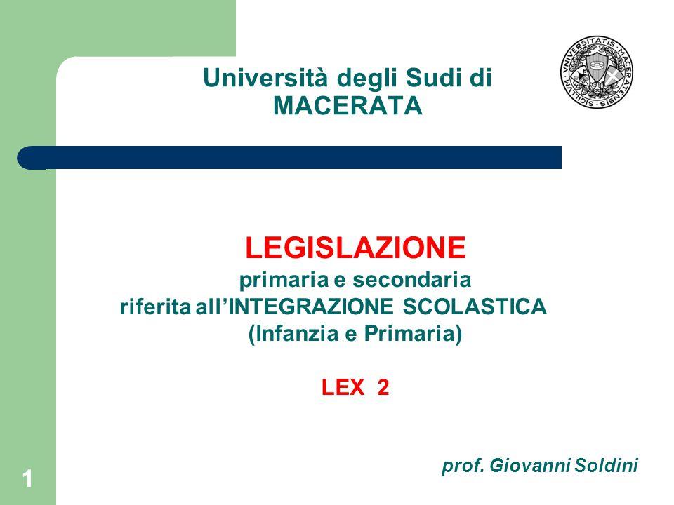 Università degli Sudi di MACERATA 1 LEGISLAZIONE primaria e secondaria riferita all'INTEGRAZIONE SCOLASTICA (Infanzia e Primaria) LEX 2 prof.