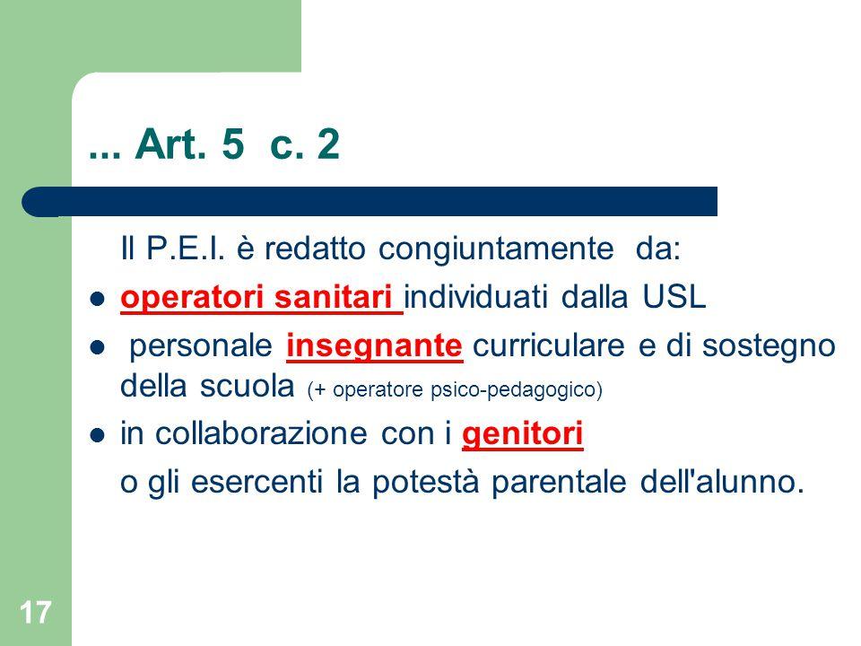 ...Art. 5 c. 2 Il P.E.I.