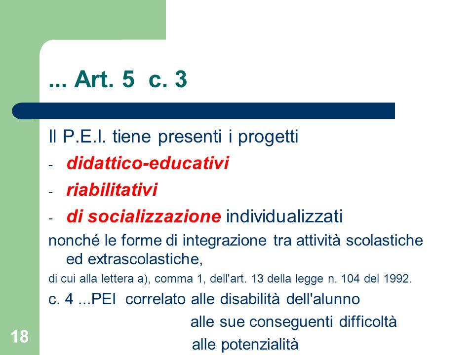 ...Art. 5 c. 3 Il P.E.I.