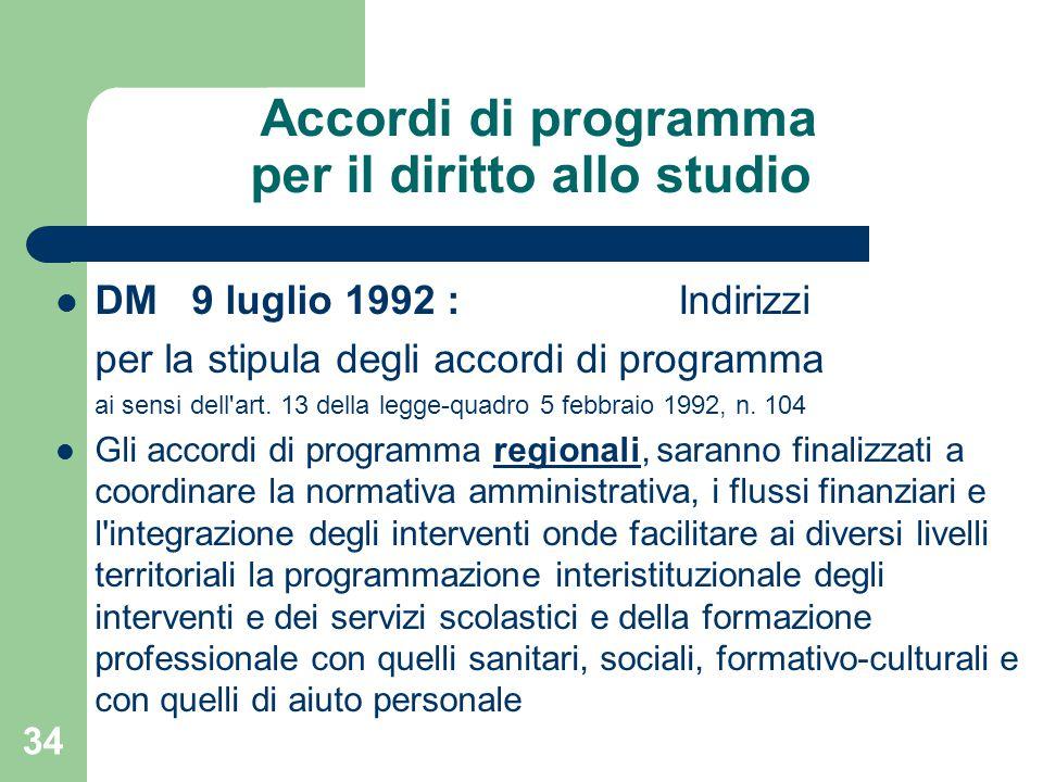 Accordi di programma per il diritto allo studio DM 9 luglio 1992 : Indirizzi per la stipula degli accordi di programma ai sensi dell art.