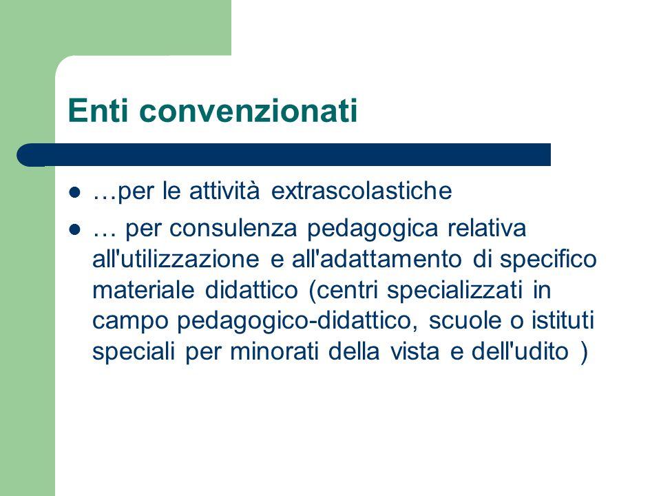 Enti convenzionati …per le attività extrascolastiche … per consulenza pedagogica relativa all utilizzazione e all adattamento di specifico materiale didattico (centri specializzati in campo pedagogico-didattico, scuole o istituti speciali per minorati della vista e dell udito )