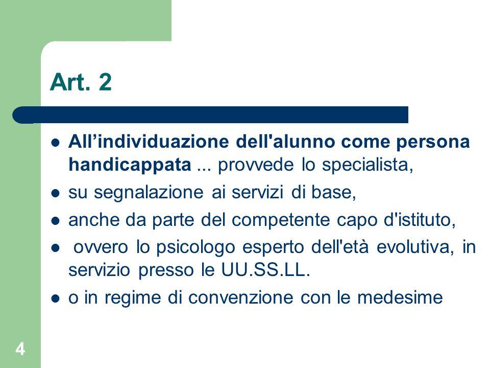 Art.2 All'individuazione dell alunno come persona handicappata...