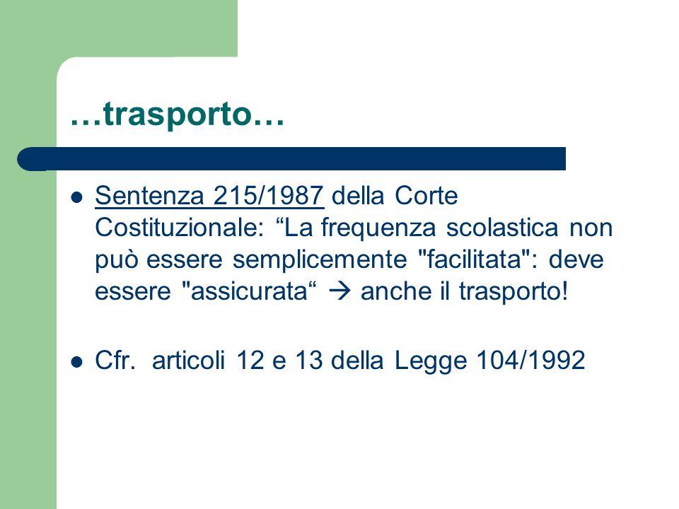 …trasporto… Sentenza 215/1987 della Corte Costituzionale: La frequenza scolastica non può essere semplicemente facilitata : deve essere assicurata  anche il trasporto.