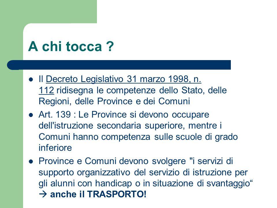 A chi tocca .Il Decreto Legislativo 31 marzo 1998, n.