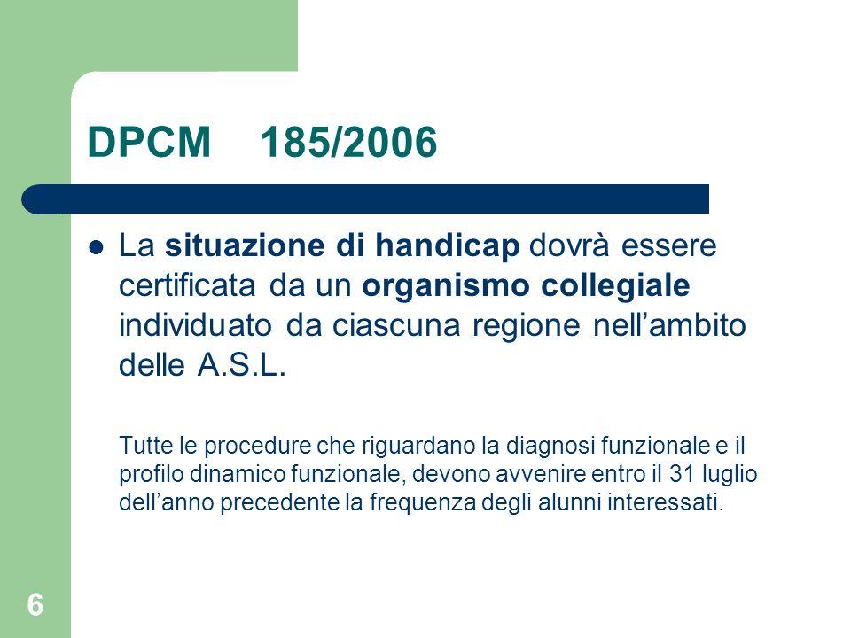 DPCM 185/2006 La situazione di handicap dovrà essere certificata da un organismo collegiale individuato da ciascuna regione nell'ambito delle A.S.L.