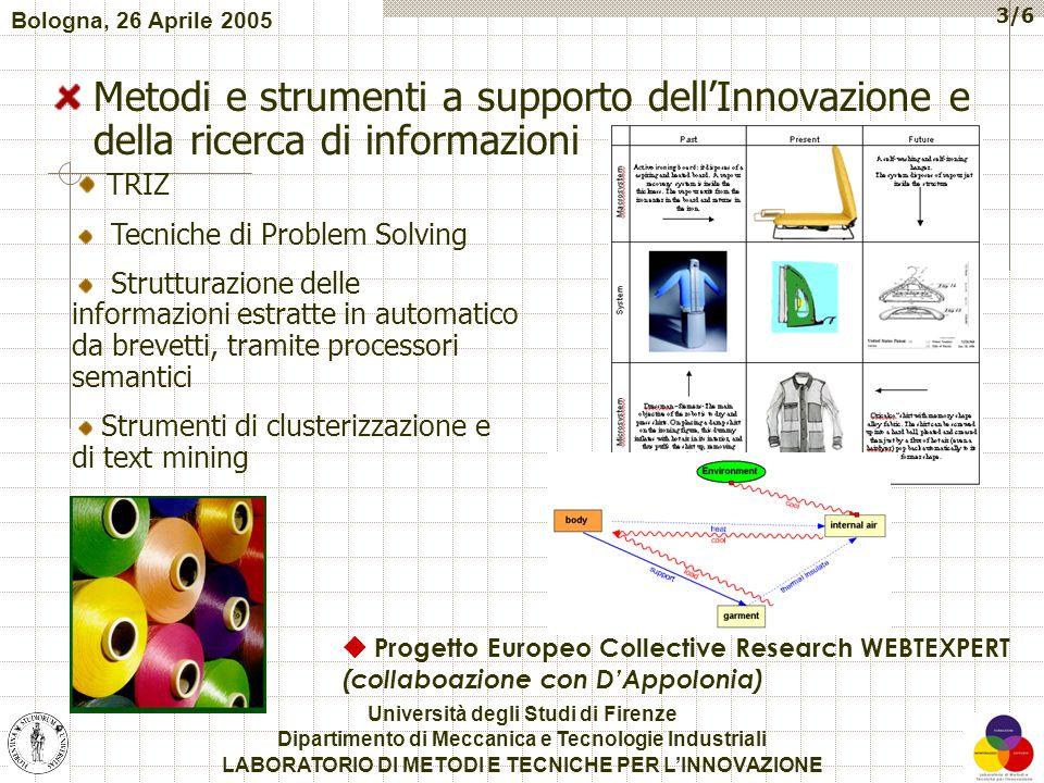 3/6 Metodi e strumenti a supporto dell'Innovazione e della ricerca di informazioni Università degli Studi di Firenze Dipartimento di Meccanica e Tecno