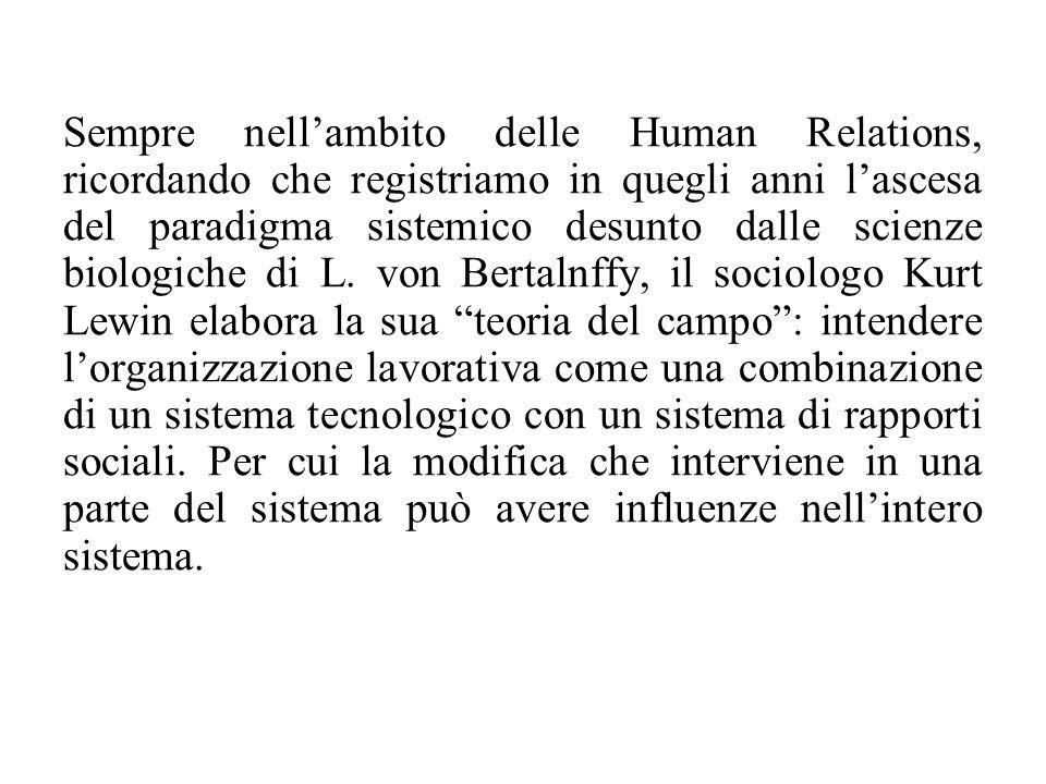 Sempre nell'ambito delle Human Relations, ricordando che registriamo in quegli anni l'ascesa del paradigma sistemico desunto dalle scienze biologiche di L.