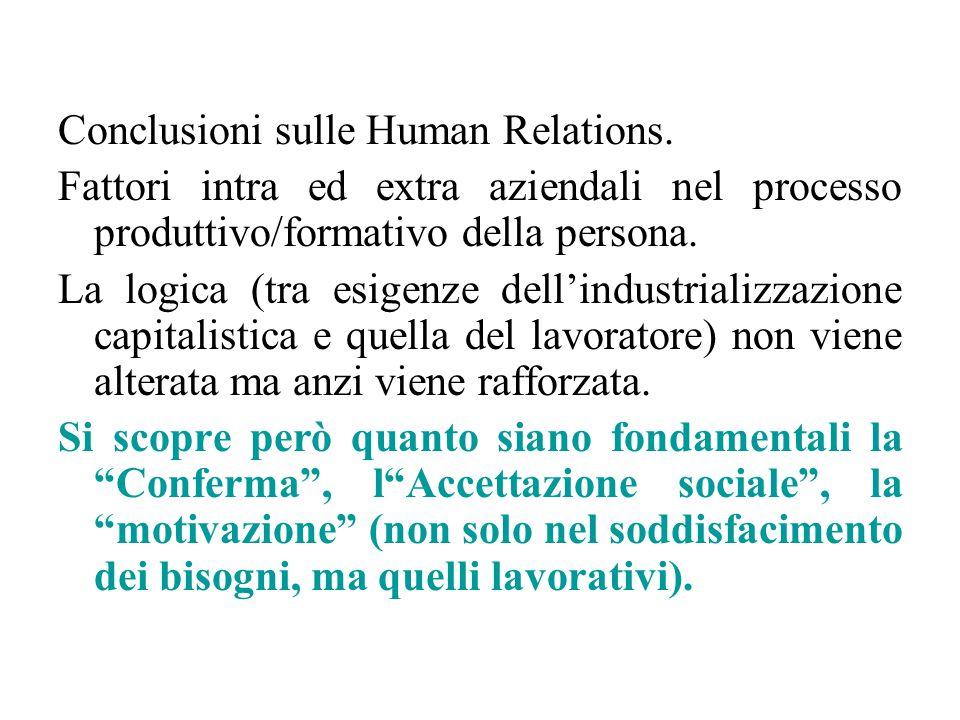 Conclusioni sulle Human Relations. Fattori intra ed extra aziendali nel processo produttivo/formativo della persona. La logica (tra esigenze dell'indu