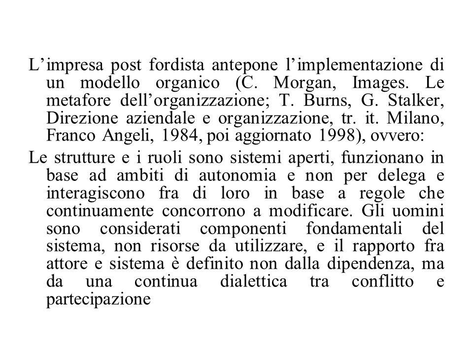 L'impresa post fordista antepone l'implementazione di un modello organico (C. Morgan, Images. Le metafore dell'organizzazione; T. Burns, G. Stalker, D
