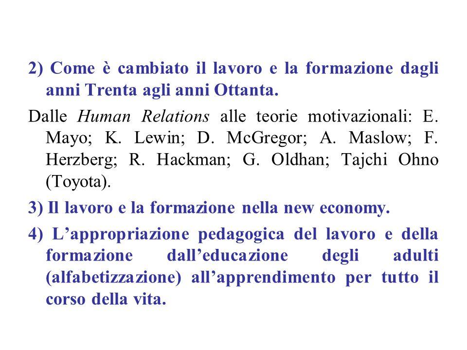 2) Come è cambiato il lavoro e la formazione dagli anni Trenta agli anni Ottanta. Dalle Human Relations alle teorie motivazionali: E. Mayo; K. Lewin;
