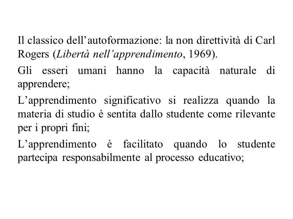 Il classico dell'autoformazione: la non direttività di Carl Rogers (Libertà nell'apprendimento, 1969). Gli esseri umani hanno la capacità naturale di