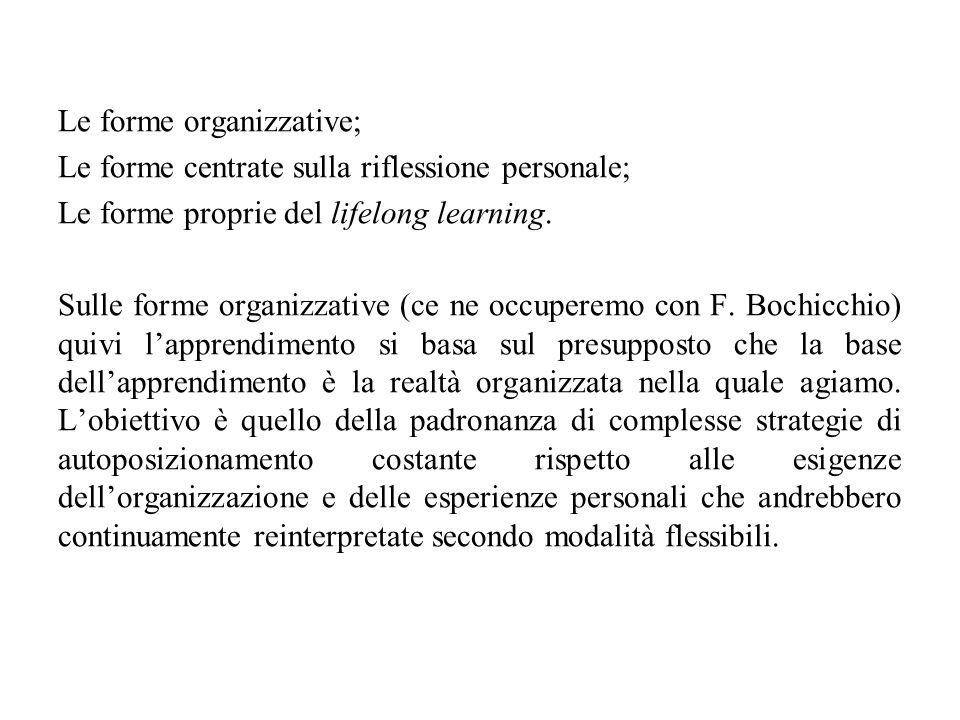 Le forme organizzative; Le forme centrate sulla riflessione personale; Le forme proprie del lifelong learning. Sulle forme organizzative (ce ne occupe