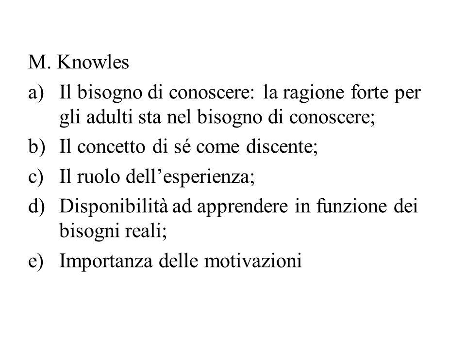 M. Knowles a)Il bisogno di conoscere: la ragione forte per gli adulti sta nel bisogno di conoscere; b)Il concetto di sé come discente; c)Il ruolo dell
