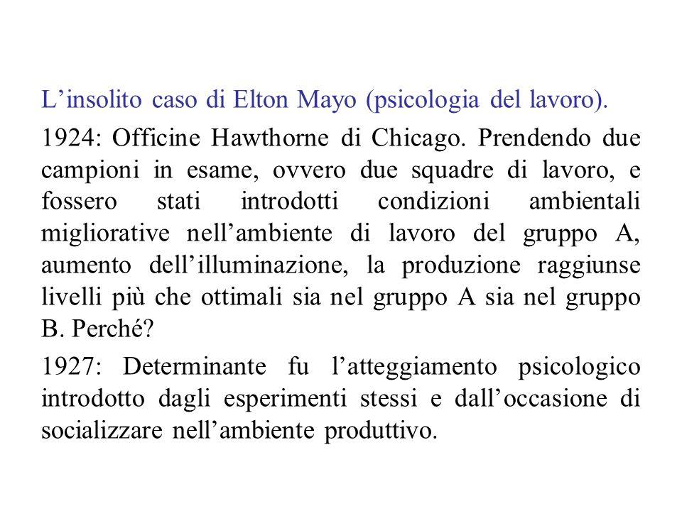 L'insolito caso di Elton Mayo (psicologia del lavoro). 1924: Officine Hawthorne di Chicago. Prendendo due campioni in esame, ovvero due squadre di lav