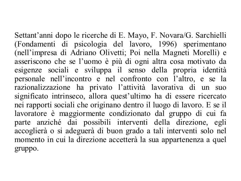 Settant'anni dopo le ricerche di E. Mayo, F. Novara/G. Sarchielli (Fondamenti di psicologia del lavoro, 1996) sperimentano (nell'impresa di Adriano Ol