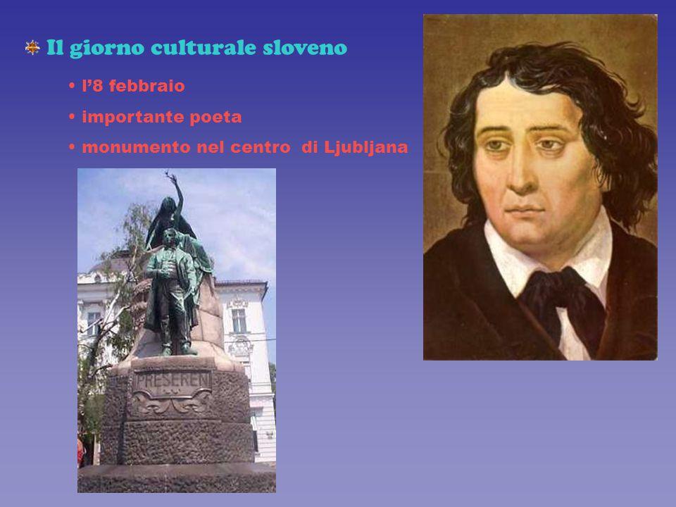 Il giorno culturale sloveno l'8 febbraio importante poeta monumento nel centro di Ljubljana
