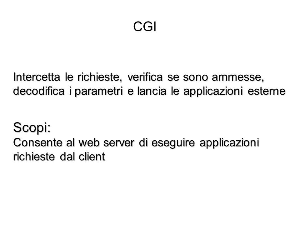 Intercetta le richieste, verifica se sono ammesse, decodifica i parametri e lancia le applicazioni esterne Scopi: Consente al web server di eseguire applicazioni richieste dal client CGI