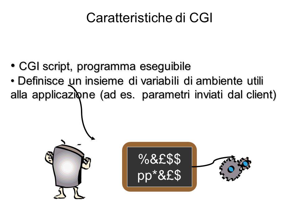 Caratteristiche di CGI CGI script, programma eseguibile CGI script, programma eseguibile Definisce un insieme di variabili di ambiente utili alla applicazione (ad es.