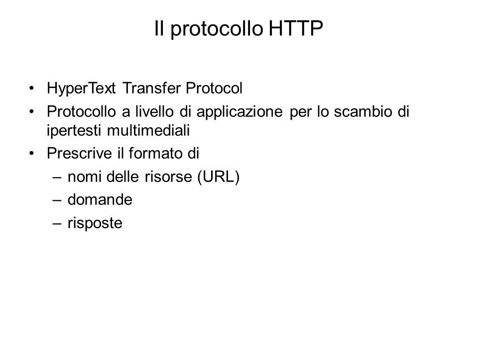 Il protocollo HTTP HyperText Transfer Protocol Protocollo a livello di applicazione per lo scambio di ipertesti multimediali Prescrive il formato di –nomi delle risorse (URL) –domande –risposte Versioni: HTTP/0.9, 1.0,