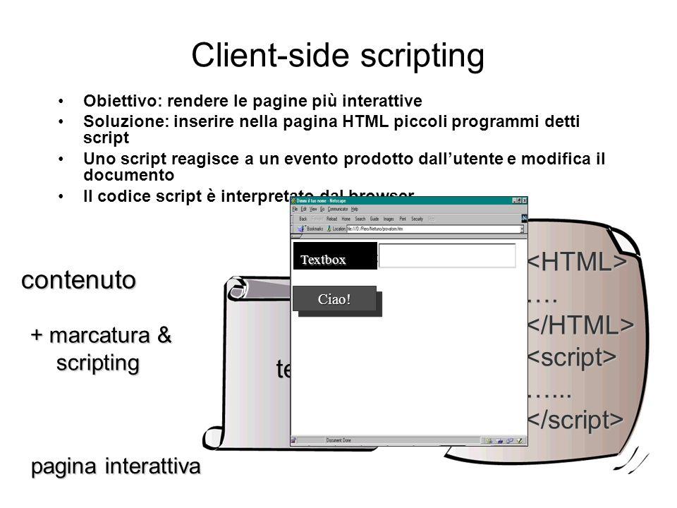 Web Server Dinamico - Application server BROWSER WEB SERVER DATABASE 1 API, JAVA SERVLET 2 JSP … Scripted page HTML page Scripting lato server Estensione con API, Servlets
