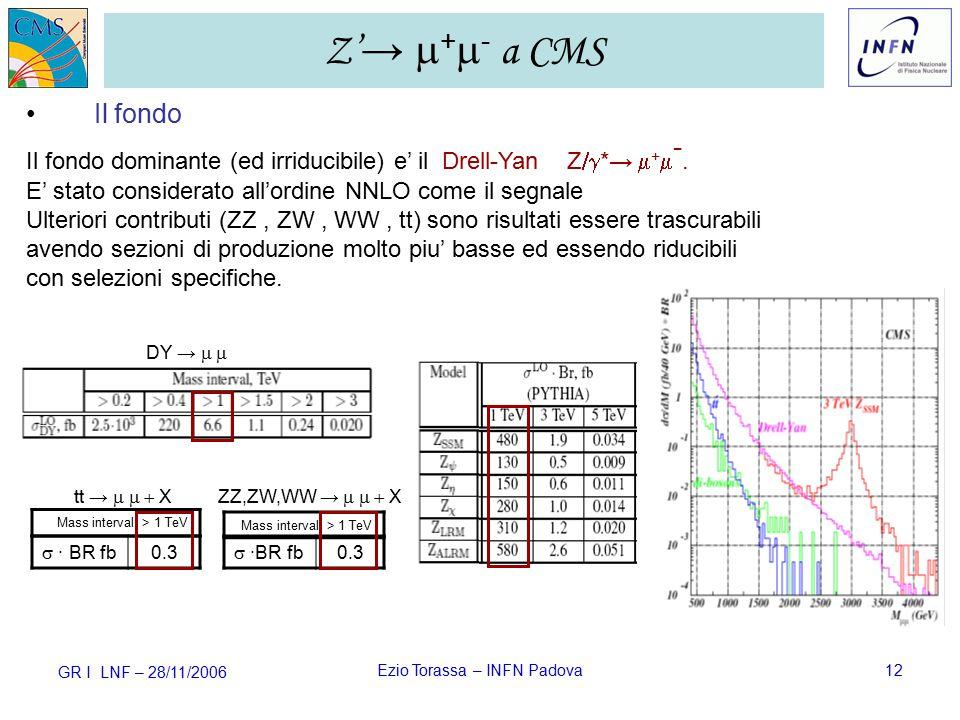 GR I LNF – 28/11/2006 Ezio Torassa – INFN Padova12 Z' →  +  - a CMS  ·BR fb 0.3  · BR fb 0.3 Il fondo Il fondo dominante (ed irriducibile) e' il Drell-Yan Z  *→  +  -.