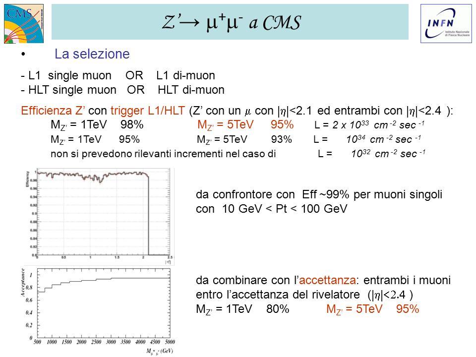 GR I LNF – 28/11/2006 Ezio Torassa – INFN Padova13 Z' →  +  - a CMS La selezione - L1 single muon OR L1 di-muon - HLT single muon OR HLT di-muon Efficienza Z' con trigger L1/HLT (Z' con un  con |  |<2.1 ed entrambi con |  |<2.4 ): M Z' = 1TeV 98% M Z' = 5TeV 95% L = 2 x 10 33 cm -2 sec -1 M Z' = 1TeV 95% M Z' = 5TeV 93% L = 10 34 cm -2 sec -1 non si prevedono rilevanti incrementi nel caso di L = 10 32 cm -2 sec -1 da confrontore con Eff ~99% per muoni singoli con 10 GeV < Pt < 100 GeV da combinare con l'accettanza: entrambi i muoni entro l'accettanza del rivelatore (|  |  ) M Z' = 1TeV 80% M Z' = 5TeV 95%