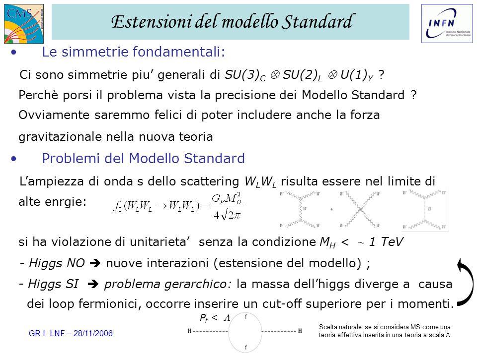 GR I LNF – 28/11/2006 Ezio Torassa – INFN Padova2 Estensioni del modello Standard Le simmetrie fondamentali: Ci sono simmetrie piu' generali di SU(3) C  SU(2) L  U(1) Y .