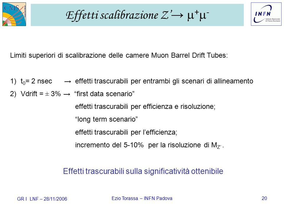 GR I LNF – 28/11/2006 Ezio Torassa – INFN Padova20 Effetti scalibrazione Z' →  +  - Limiti superiori di scalibrazione delle camere Muon Barrel Drift Tubes: 1)t 0 = 2 nsec → effetti trascurabili per entrambi gli scenari di allineamento 2)Vdrift = ± 3% → first data scenario effetti trascurabili per efficienza e risoluzione; long term scenario effetti trascurabili per l'efficienza; incremento del 5-10% per la risoluzione di M Z'.