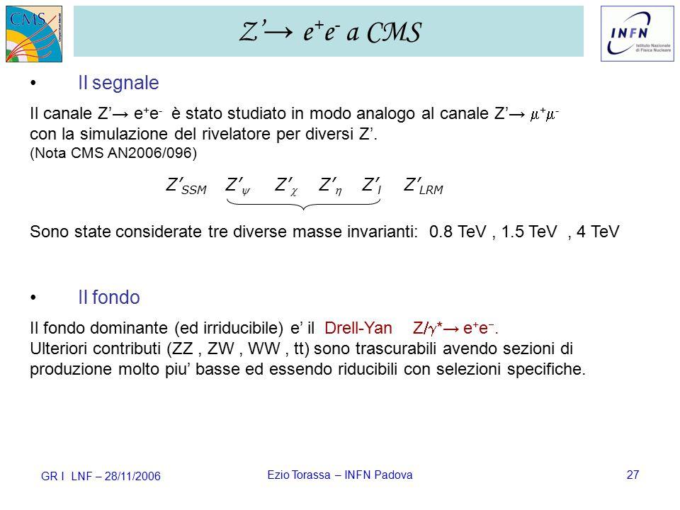 GR I LNF – 28/11/2006 Ezio Torassa – INFN Padova27 Il segnale Il canale Z'→ e + e -  è stato studiato in modo analogo al canale Z'→  +  - con la simulazione del rivelatore per diversi Z'.