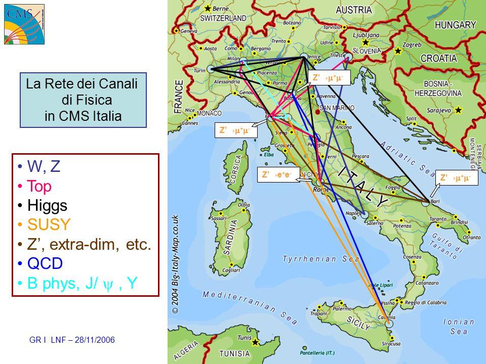 GR I LNF – 28/11/2006 Ezio Torassa – INFN Padova35 W, Z Top Higgs SUSY Z', extra-dim, etc.