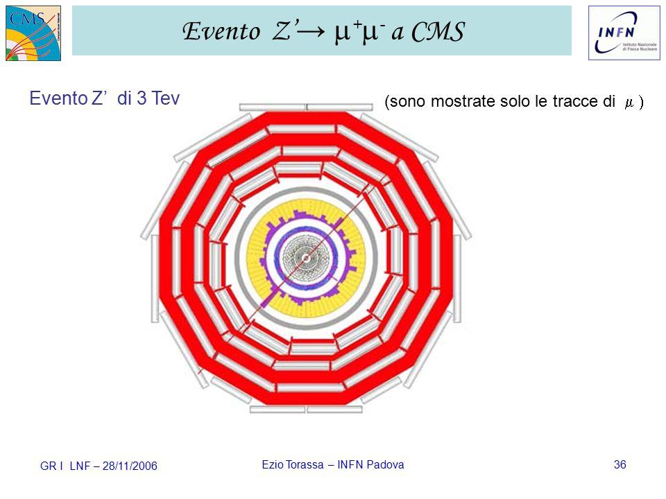 GR I LNF – 28/11/2006 Ezio Torassa – INFN Padova36 Evento Z' →  +  - a CMS Evento Z' di 3 Tev (sono mostrate solo le tracce di 