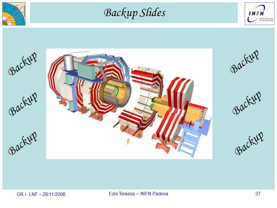 GR I LNF – 28/11/2006 Ezio Torassa – INFN Padova37 Backup Slides Backup