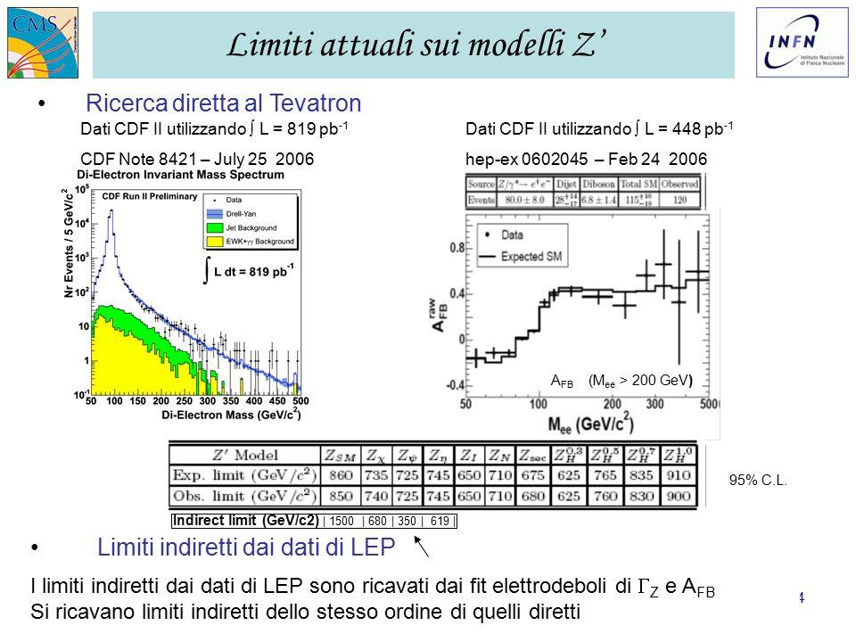 GR I LNF – 28/11/2006 Ezio Torassa – INFN Padova4 Limiti attuali sui modelli Z' Ricerca diretta al Tevatron A FB (M ee > 200 GeV) Dati CDF II utilizzando ∫ L = 819 pb -1 CDF Note 8421 – July 25 2006 Dati CDF II utilizzando ∫ L = 448 pb -1 hep-ex 0602045 – Feb 24 2006 95% C.L.