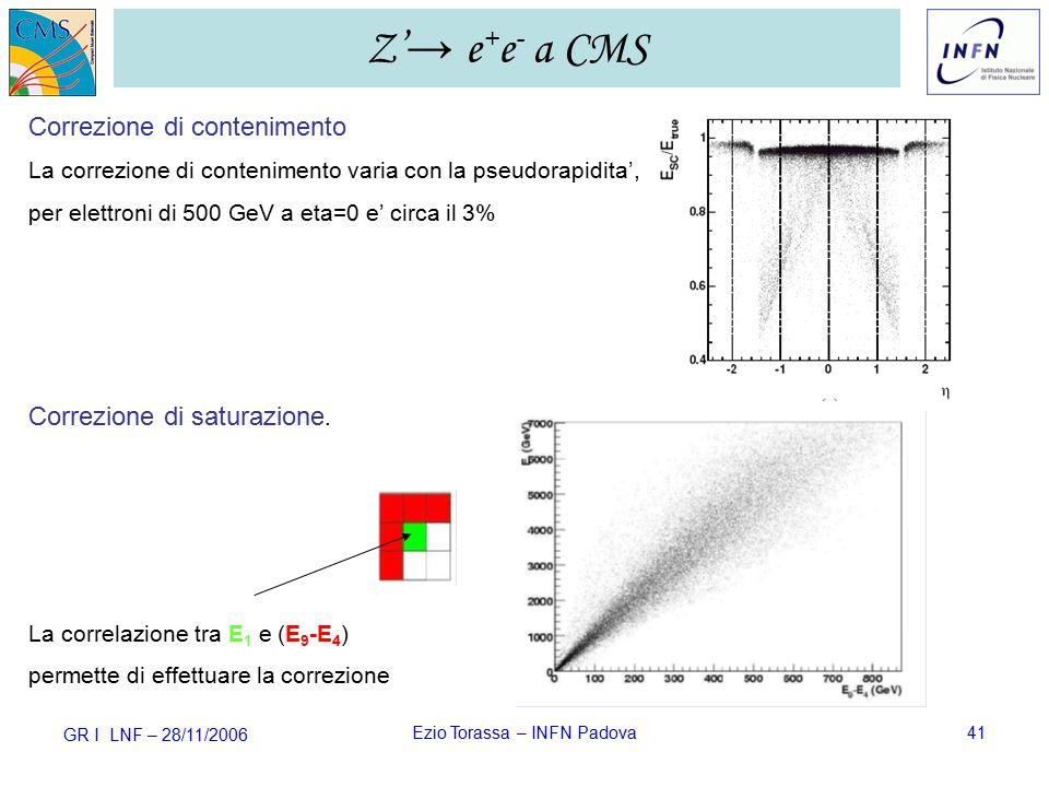 GR I LNF – 28/11/2006 Ezio Torassa – INFN Padova41 Correzione di saturazione.