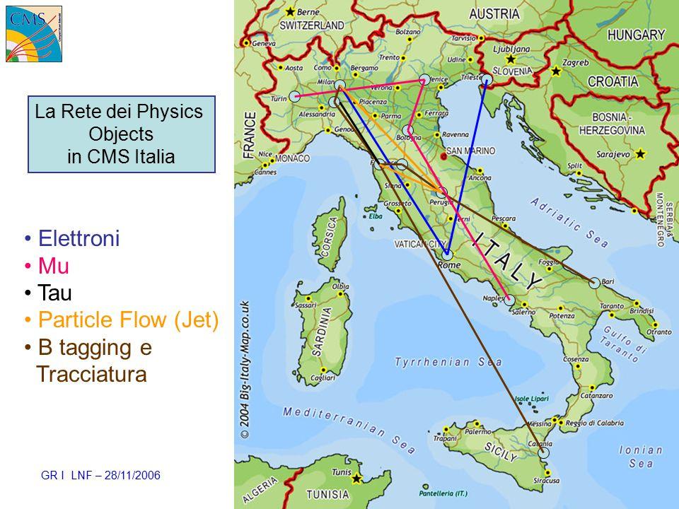 GR I LNF – 28/11/2006 Ezio Torassa – INFN Padova42 Elettroni Mu Tau Particle Flow (Jet) B tagging e Tracciatura La Rete dei Physics Objects in CMS Italia