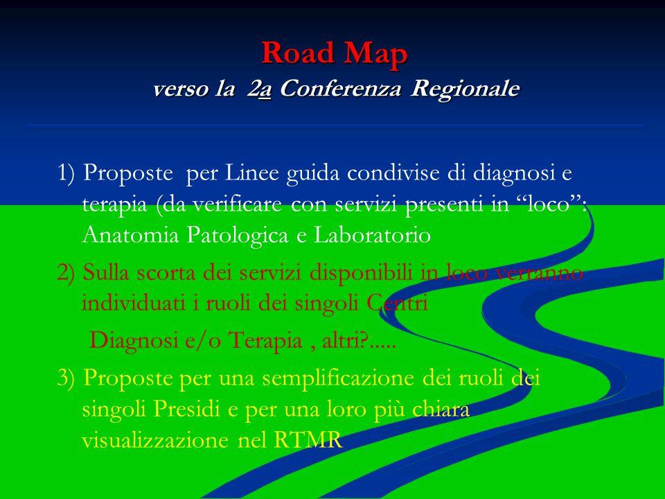 """Road Map verso la 2a Conferenza Regionale 1) Proposte per Linee guida condivise di diagnosi e terapia (da verificare con servizi presenti in """"loco"""": A"""