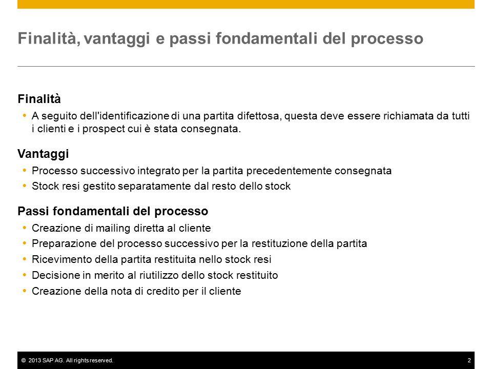 ©2013 SAP AG. All rights reserved.2 Finalità, vantaggi e passi fondamentali del processo Finalità  A seguito dell'identificazione di una partita dife