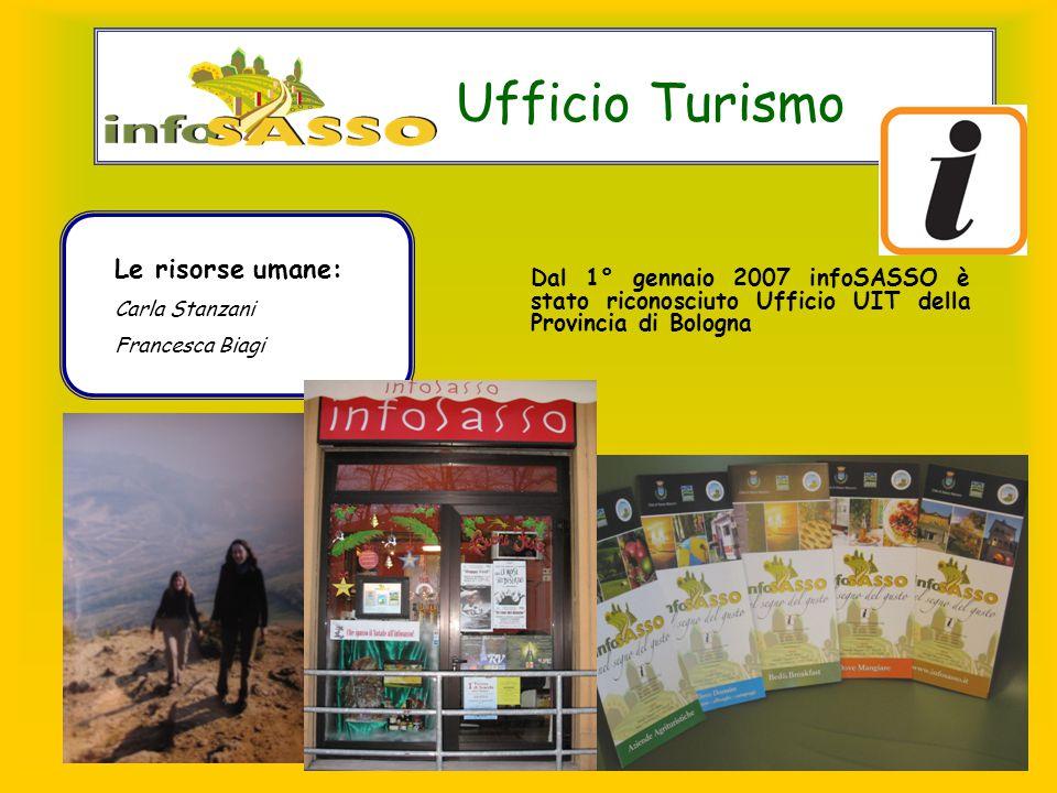 Ufficio Turismo Dal 1° gennaio 2007 infoSASSO è stato riconosciuto Ufficio UIT della Provincia di Bologna Le risorse umane: Carla Stanzani Francesca Biagi